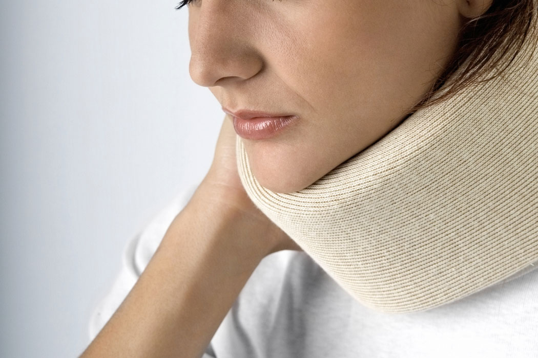 Close-Up-of-Woman-Wearing-Neck-Brace