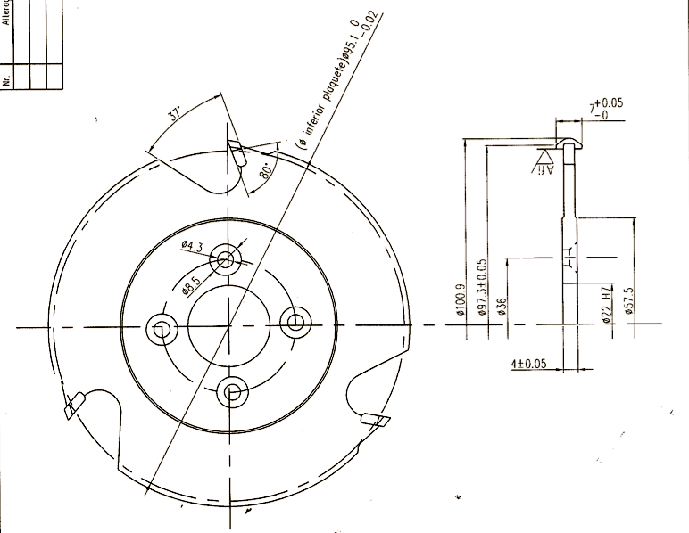 "Lamello ""Clamex P"" system - Cutter Drawing"