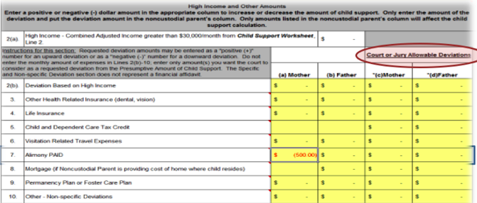 Georgia Child Support Worksheet Deviations Proga Info