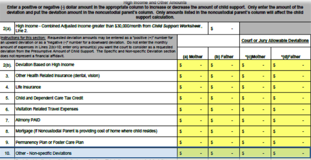 Non-Specific Deviation | Georgia Child Support Worksheet | Atlanta ...