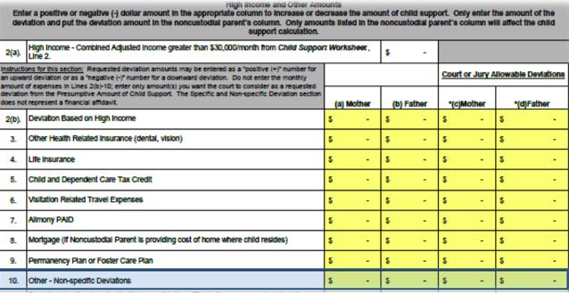 Georgia child support worksheet instructions